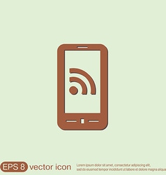Smartphone with the symbol rss vector