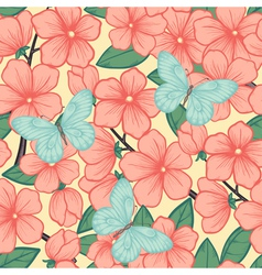 Background with branches of flowering trees vector