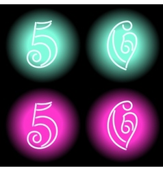 Neon digits vector