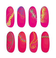 Nail designs set vector