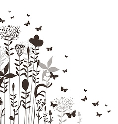 Florals and butterflies silhouette vector