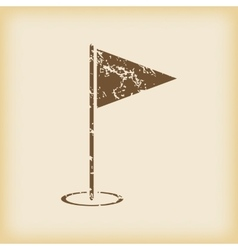 Grungy flagstick icon vector