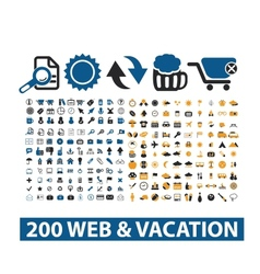 20 web  vacation icons set vector