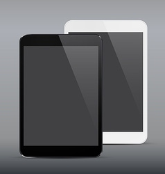 Realistic black and white tablet pc vector