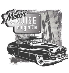 Mafia classic car grunge vector