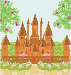 Landscape with old castle vector