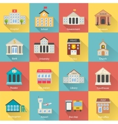 Government buildings icons set with long shadow vector