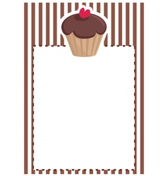 Sweet muffin cupcake baby shower brown invitation vector