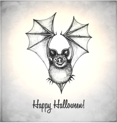 Scary bat in a sketch style vector