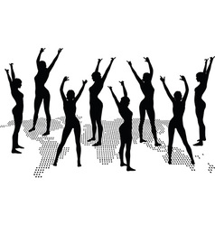 Woman silhouette with hand gesture dancing vector