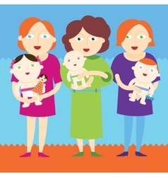 Mothers holding beautiful babies vector