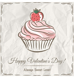 Valentine card with strawberry cupcake vector