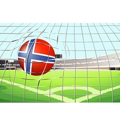 A ball hitting a goal with the flag of norway vector