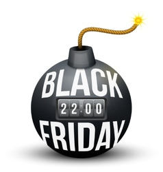 Bomb about to blast with black friday sales tag vector