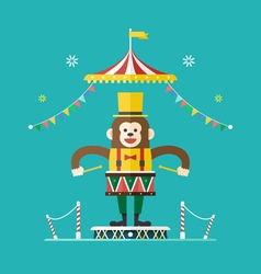 Monkey drummer circus theme vector