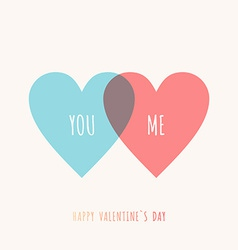 St valentines day greeting card in flat style blue vector
