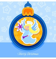 Christmas ball postcard angel vector