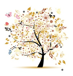 Beautiful floral tree for your design vector