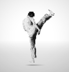 Mosaic sportsman made of cubes vector