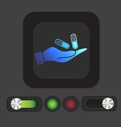 Hand holding a pill tablet vector