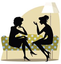Talking women on the sofa vector
