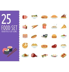 Collection of food icons in flat design style vector