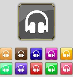 Headphones earphones icon sign set with eleven vector