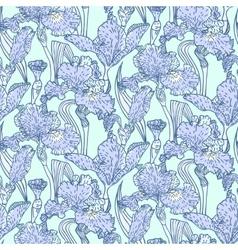 Vintage pattern with field of iris flowers vector