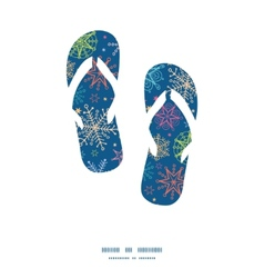 Colorful doodle snowflakes flip flops silhouettes vector