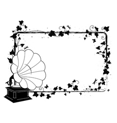 Ivy frame with gramophone vector