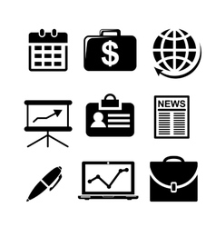 Set of black and white business icons vector