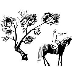 Horseman under the tree vector