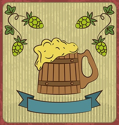 Vintage card with wooden mug beer vector