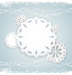 Paper snowflake background on blue2 vector