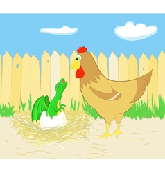 Chicken and dragon hatching from egg vector