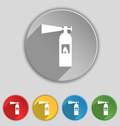Fire extinguisher icon sign symbol on five flat vector