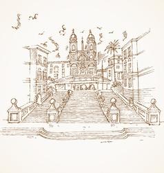 Piazza di spagna in rome hand draw vector