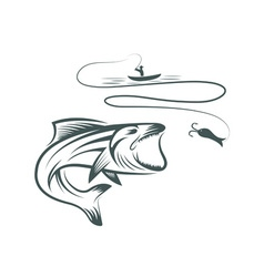 Fisherman in boat and bass vector