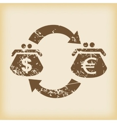 Grungy dollar-euro exchange icon vector