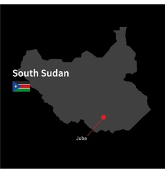 Detailed map of south sudan and capital city juba vector