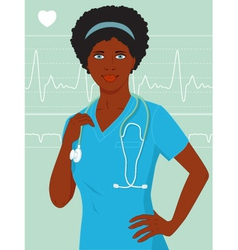 African-american nurse or doctor vector