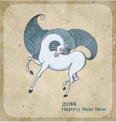 Horse on christmas card vector