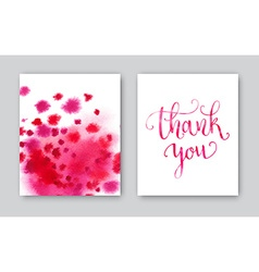 Thank you watercolor card template bright hand vector