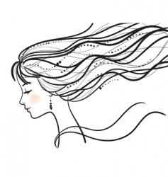 Beautiful woman face silhouette illustratio vector