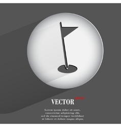 Hole golf course flat modern web button with long vector
