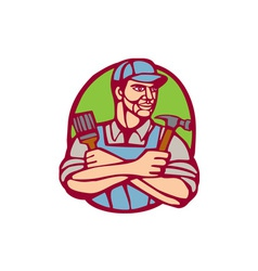 Builder carpenter paintbrush hammer linocut vector