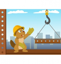 Beaver mounter build metal construction vector