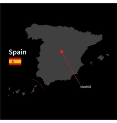 Detailed map of spain and capital city madrid with vector