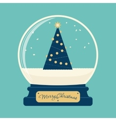 Merry christmas glass ball with tree vector