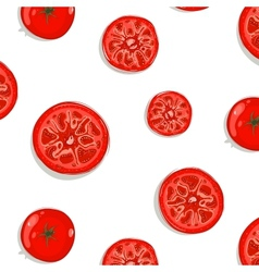 Tomato slices seamless pattern background vector